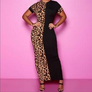 Leopard Print Black Split Dress